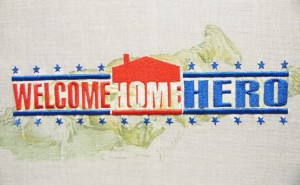 welcome Home Hero, 2014. Broderie mécanique. 50x25 cm
