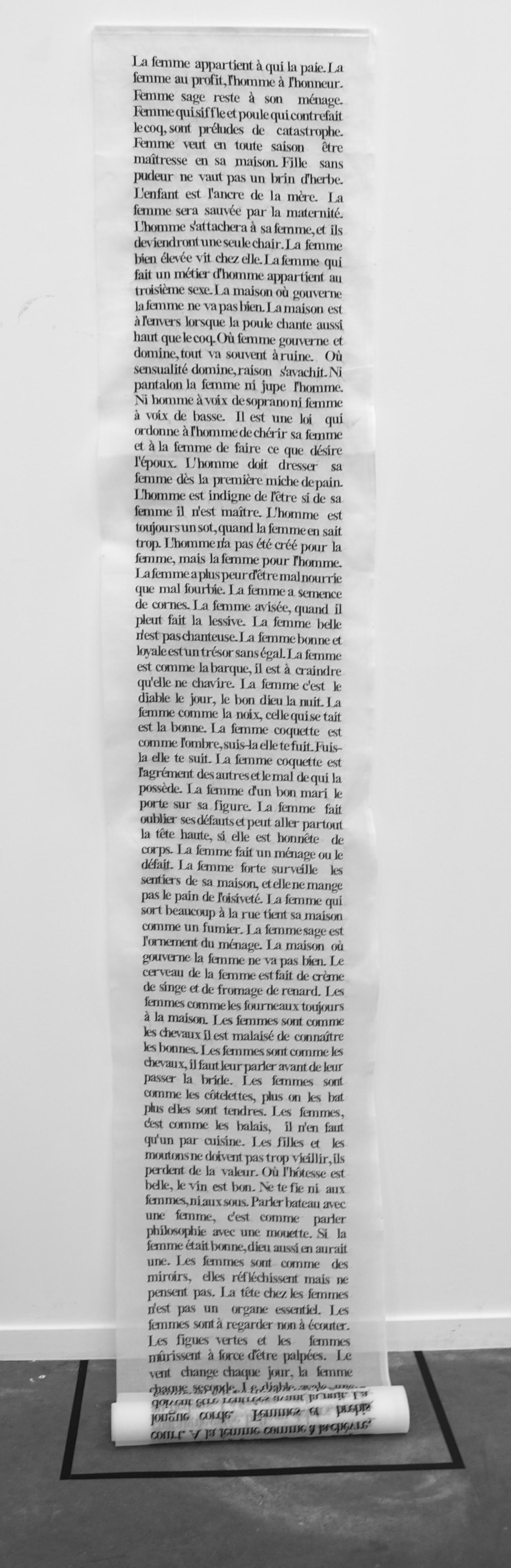 Les proverbes, 2015. 50 X 350 cm. Broderie mécanique sur organdi.