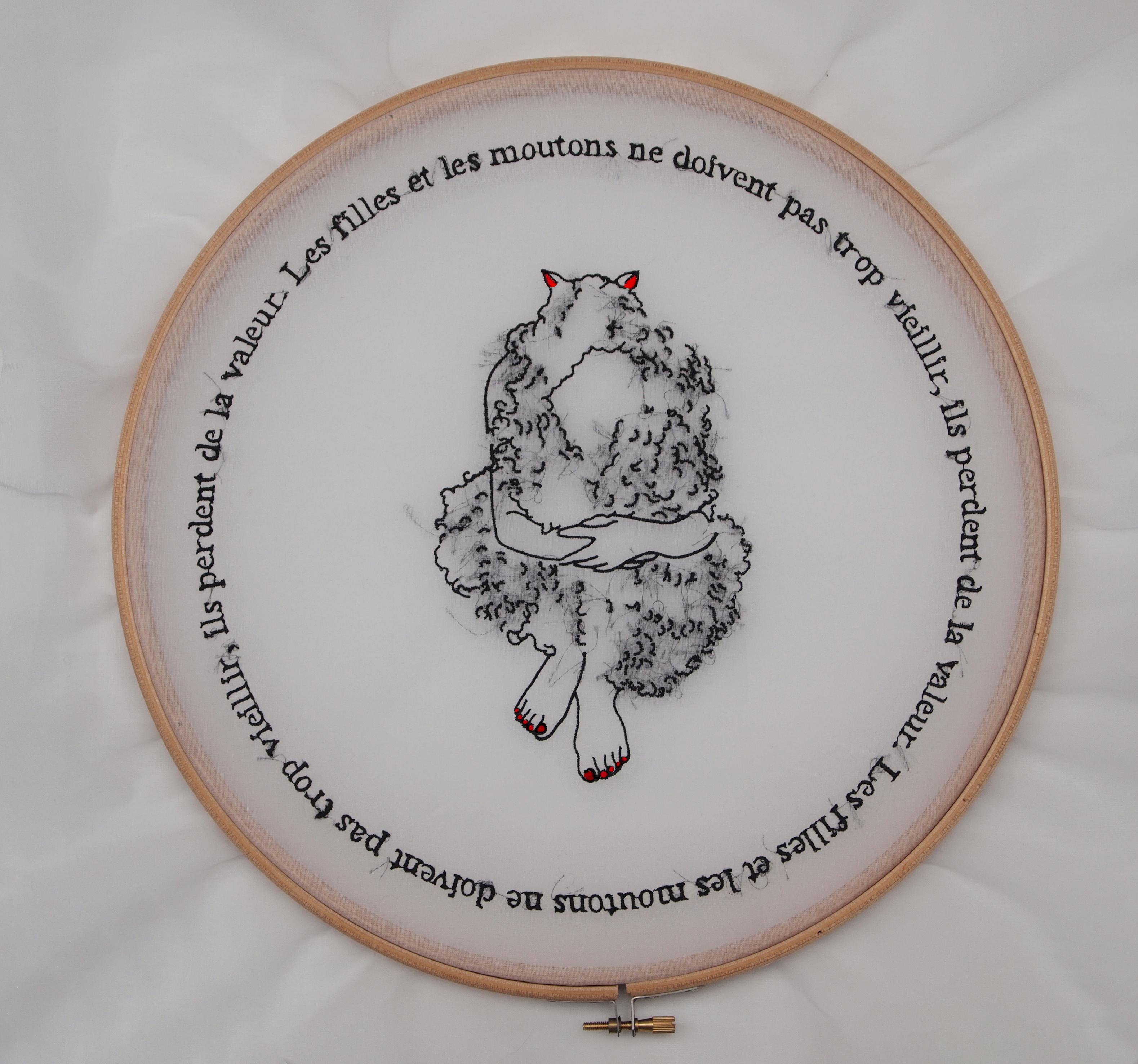 OLYMPUS DIGITAL CAMERALes proverbes français (les filles et les moutons ne doivent pas vieillir), 2016. Broderie mécanique sur organdi. 50×50 cm